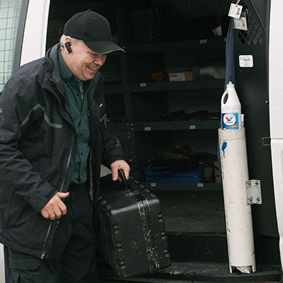 Troy - taking tools out of van for service